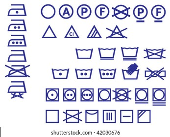 Vector Icon Set of washing symbols