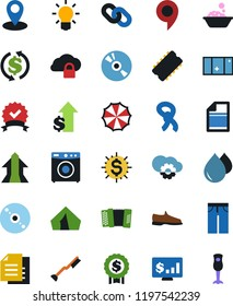 Vector icon set - water drop vector, car fetlock, washer, foam basin, shining window, man shoes, scarf, jeans, document, certificate, pin, cd, exchange, dollar growth, medal, monitor, light bulb