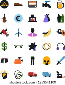 Vector icon set - water tap vector, splotch, drying clothes, man shoes, sport pants, vest, dress, dollar sign, eoro, truck, skateboard, headphones, manager, calendar, gold ingot, hoop, satellite
