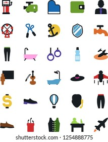 Vector icon set - water tap vector, bath, man shoes, sport pants, vest, dollar sign, manager, wallet, support, blackboard, slot machine, ferris wheel, golf, jump rope, bottle, gymnast rings, jetpack