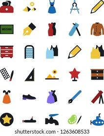 Vector icon set - water tap vector, welcome mat, washboard, chest of drawers, man shoes, undershirt, dress, jacket, pencil, pen, corner ruler, drawing compass, paint, pyramid, toaster, star