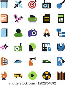 Vector icon set - window cleaning vector, sprayer, cleaner woman, office building, printer, support, magnet, school bus, yacht, swords, photo camera, fire, calculator, hierarchy, snickers, target