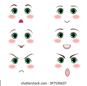Vector icon set.Anime, manga green eyes. Kawaii face, muzzle with different expressions. Flat cartoon style. Element for design