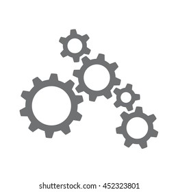 Vector icon of several machinery cogs and gears working together
