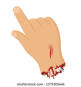 Vector icon severed hand in blood. The hand is scratched, the bones, muscles and blood flow from it. The hand points the finger. Illustration of a gesture torn male hand in flat minimalism style.