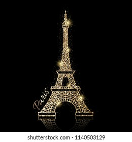 Vector icon of shiny eiffel tower with gold glitter