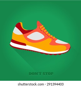 Vector icon shoes for training. Running shoe, sneaker isolated on green background. Flat design with long shadow. 10 eps