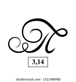 Vector icon sign symbol pi. Ink calligraphy is the mathematical value of Pi 3.14. Illustration isolated on white background. Greek alphabet.