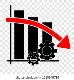 Vector Icon simple illustration, Falling down Productivity Business Progress