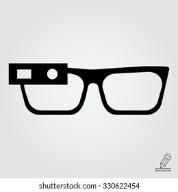 Vector icon of smart glasses mounted on spectacles