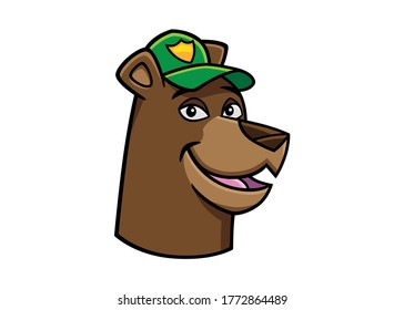 Vector icon of a smiling bear head, black lines and color, in a cartoon style very graphic, to use like a logo, design element or similar thing. The character is wearing a green cap with a badge.