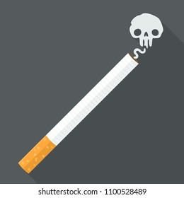 Vector Icon of a smoking cigarette in a flat style. Smoke cigarettes in the form of a skull.