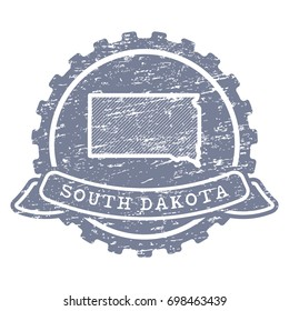 A vector icon of South Dakota state made with simple isolated shapes in vintage style and grunge textures. region
