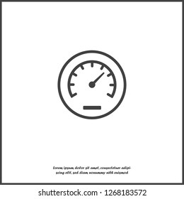 Vector icon speedometer. Flat image speedometer icon.  Layers grouped for easy editing illustration. For your design.