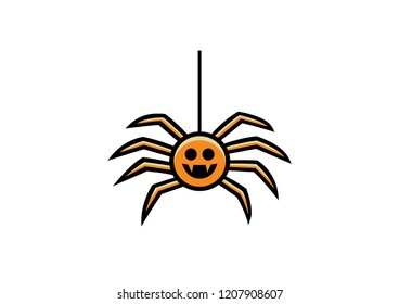 Vector icon of a spider for Halloween, children's style.