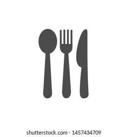 Vector icon of spoon, fork and knife. Cutting tool icon symbol