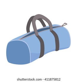 Vector icon of sport bag. Blue bag on white background.