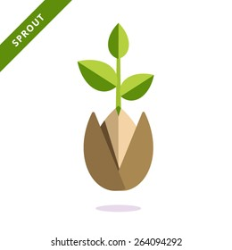 Vector icon sprout. Can be used for web design and printing.