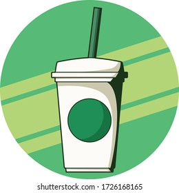 Vector icon for Starbucks Coffee Cup. Cartoon style and have a retro style for shadow.