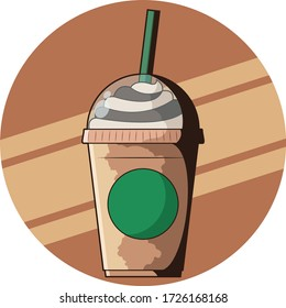 Vector icon for Starbucks Milkshake Cup. Cartoon style and have a retro style for shadow.