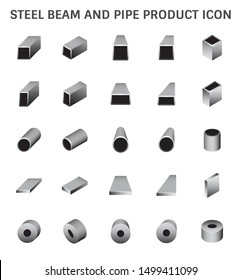 Vector icon of steel beam and pipe product icon set for steel production industrial graphic design element.