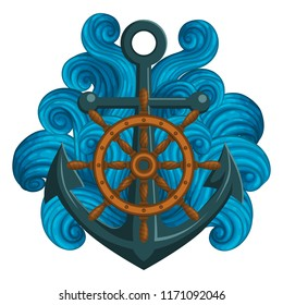 Vector icon, sticker, t-shirt design, label design template. Wooden ship's wheel and anchor with stylized waves isolated on white background.
