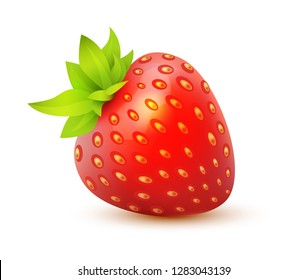 Vector icon of Strawberry, juicy realistic illustration of single isolated berry.