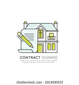 Vector Icon Style Illuetration Icon of Contract Sogning and Buying a  Property, Real Estate, Hotel, Accommodation. Booking a Flat, House, finding Flatmates and Roommates or Agent