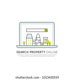 Vector Icon Style Illuetration Icon of Online Search Property, Real Estate, Hotel, Accommodation or Booking a Flat, House, finding Flatmates and Roommates or Agent