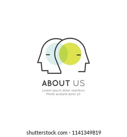 Vector Icon Style Illustration of About Us, Join Our Team, Bio Link, Information Page, People Profile, Isolated Web Element with Two Outlined Human Heads Together