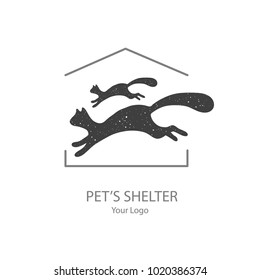 Vector Icon Style Illustration of Adopt a Pet logo, Banner, New Owner, Domestic Animal Farm, Hotel, Isolated Minimalistic Object. Runnung cat to home's roof