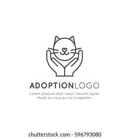 Vector Icon Style Illustration of Adopt a Pet Banner, New Owner, Domestic Animal Farm, Hotel, Isolated Minimalistic Object