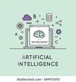 Vector Icon Style Illustration of Artificial Intelligence and Machine Learning Concept
