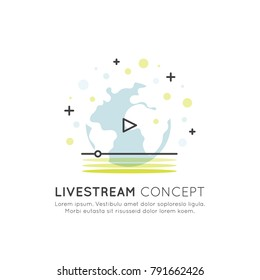 Vector Icon Style Illustration Banner Template of Online Broadcast, Livestream Playback with Play Button and Globe, Minimalistic Isolated Element