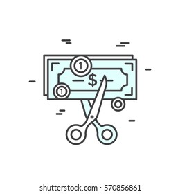 Vector Icon Style Illustration of Budget Cut, reduce costs, money saving concept