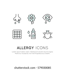 Vector Icon Style Illustration Card Logo Set Allergens, Season or Spring Illness, Unwell, Allergy and Intolerance, Simple Isolated Symbols for Web and Mobile App