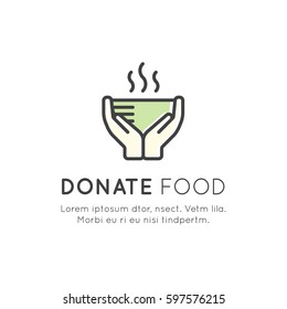 Vector Icon Style Illustration Card or Poster Template with Charity and Fundraising Objects. Volunteer Poster. Share Food, Event Brochure Template.