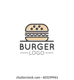 Vector Icon Style Illustration Card Cartoon Outline Logo of Fast Food Shop, Urban Place, Burrito, Burger, Sandwich or Hot Dog Bar, Grill House, Simple Isolated Symbol for Web and Mobile App