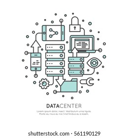 Vector Icon Style Illustration of Cloud Computing Technology, Hosting, Cloud Management, Data Security, Server Storage, Api, Mobile and Desktop Memory, Data Center, Isolated Web Design Template