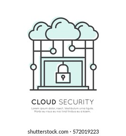 Vector Icon Style Illustration of Cloud Computing Technology Security, Hosting, Cloud Management, Data Security, Server Storage, Api, Mobile and Desktop Memory, Key and Lock Isolated Web Design Icon