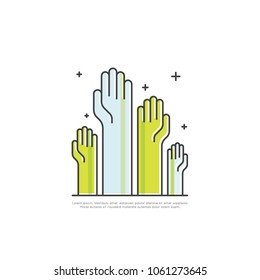 Vector Icon Style Illustration Concept of Cooperation Teamwork, Group, Partnership, Rased Hands, Isolated Modern Symbol