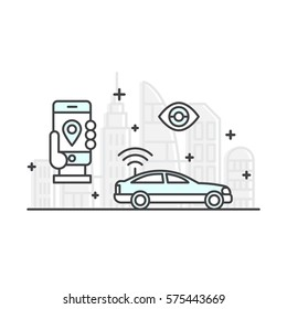 Vector Icon Style Illustration Concept of Rent a Car, Purchase a Cab, Auto Tracking, Smart Mobile App, Wireless Connection to a Vehicle, Signaling and Security