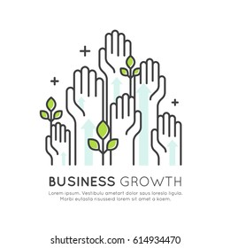 Vector Icon Style Illustration Concept of Start Up Business Growth, Development and Increasing, Isolated Modern Symbol
