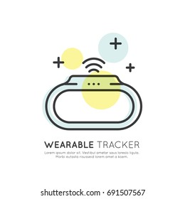 Vector Icon Style Illustration Concept of Wearable Tracker, Step and Calories Counter, Heart Rate, Technology of Future, Isolated Symbols for Web and Mobile
