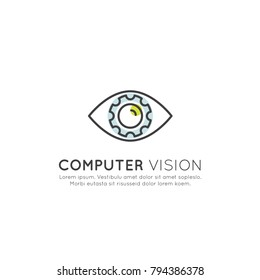 Vector Icon Style Illustration Concept of Computer Vision, Machine Learning, Artificial Intelligence, Virtual Reality, EyeTap Technology of Future, Isolated Symbols for Web and Mobile
