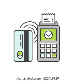 Vector Icon Style Illustration of Contactless payment purchase vector icon in a flat style. Wireless bank payment by debit or credit card and POS terminal. NFC payments concept.