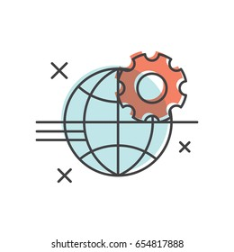 Vector Icon Style Illustration of Development, Fire Wall, Access Denied, Secure Connection, Error, Settings, Isolated Background for Web and Mobile