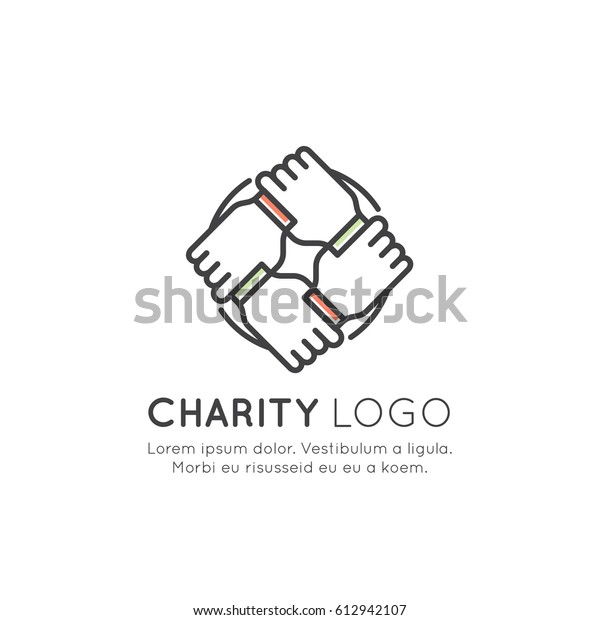 Vector Icon Style Illustration Graphic Elements for Nonprofit Organizations and Donation Centre. Fundraising Symbols, Crowdfunding Project Label, Charity Logo, Cooperation, Volunteer, Support