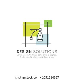 Vector Icon Style Illustration of Vector Graphics and Design Creation Process, Solutions, Options, Sales, Business and Visual Identity