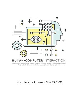 Vector Icon style Illustration of Human Computer Interaction, Automation, Data Mining, Machine Learning, Artificial Intelligence Concept